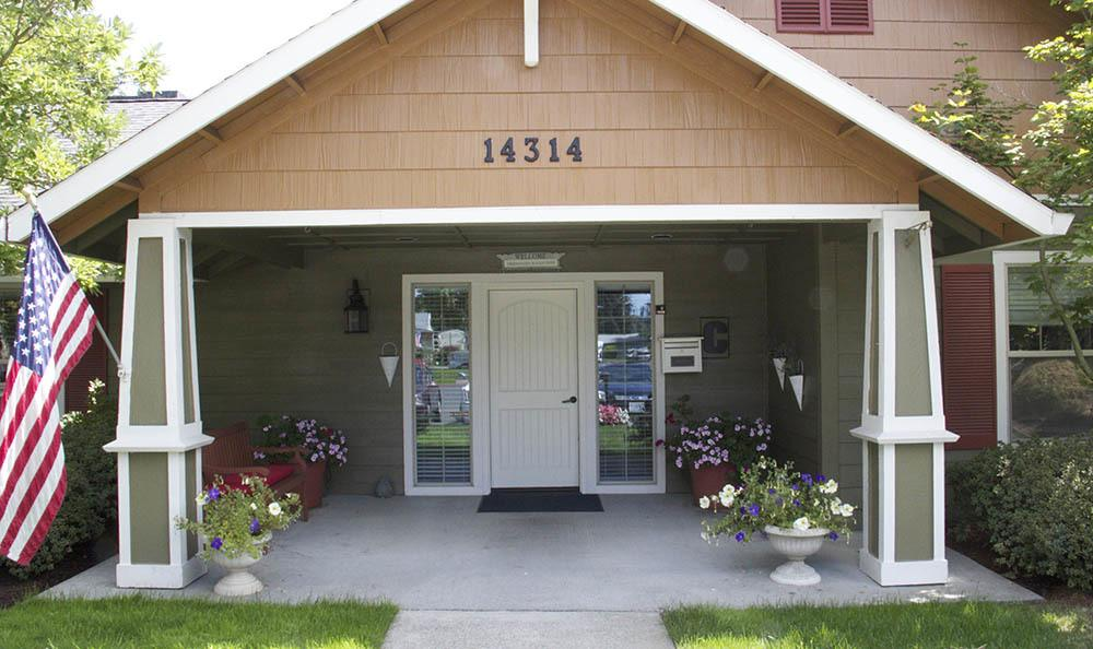 Our senior living facility entrance welcomes you home in Milwaukie, OR