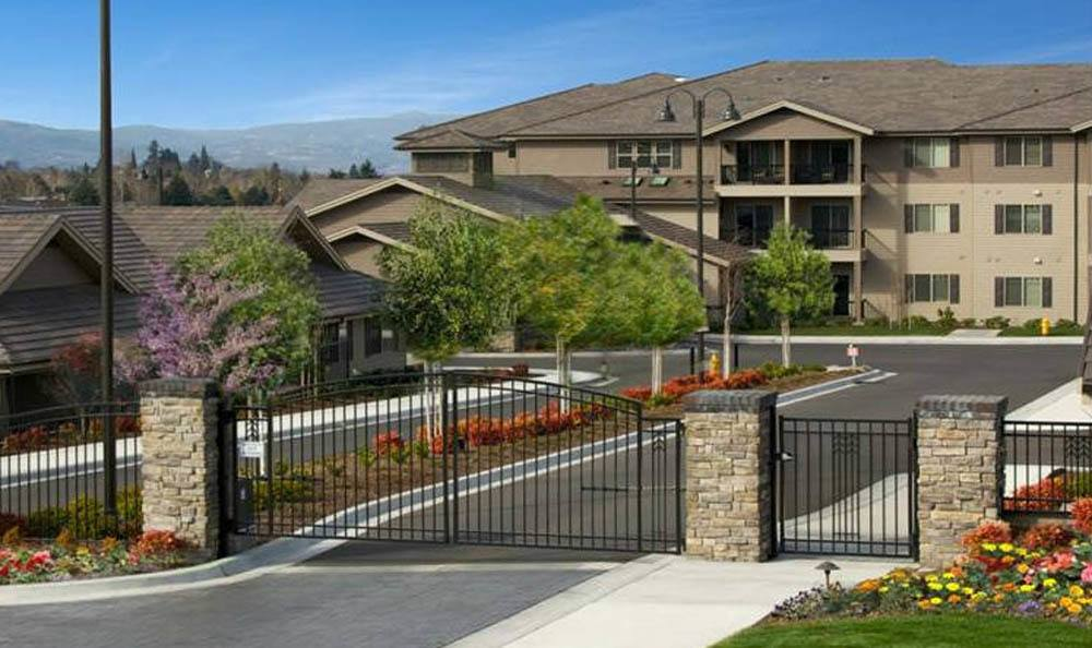 The front gate of our senior living facility in Medford, OR