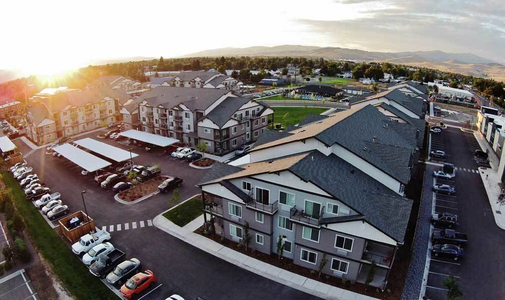 Aerial view of our luxury resort apartments in Missoula, MT