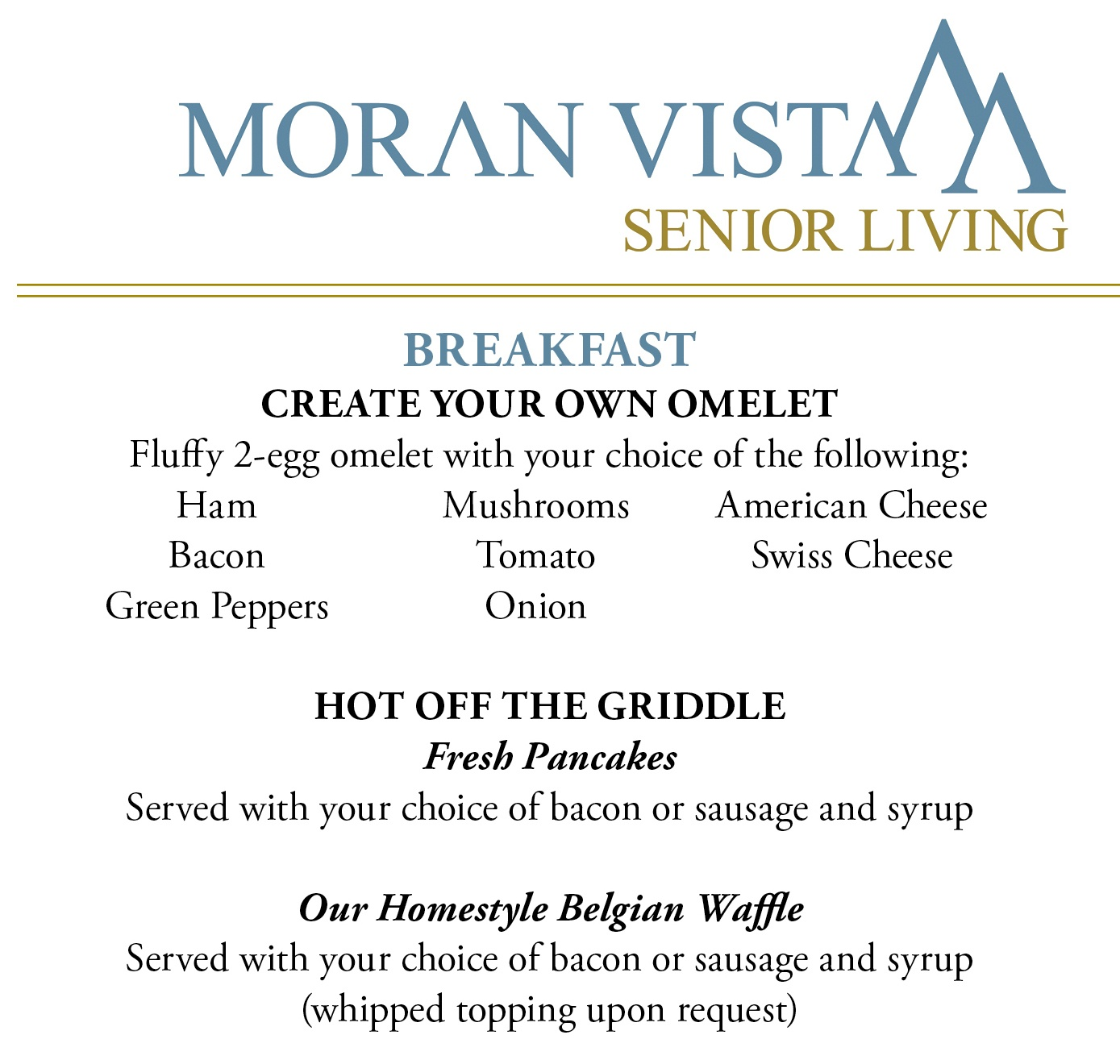 Sample Menu at Moran Vista
