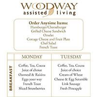 Sample Menu at Woodway Assisted Living
