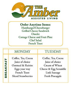 Sample Menu at The Amber
