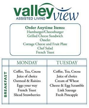 Sample Menu at Valley View Assisted Living
