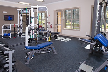 Fitness center at apartments in Huntersville, NC