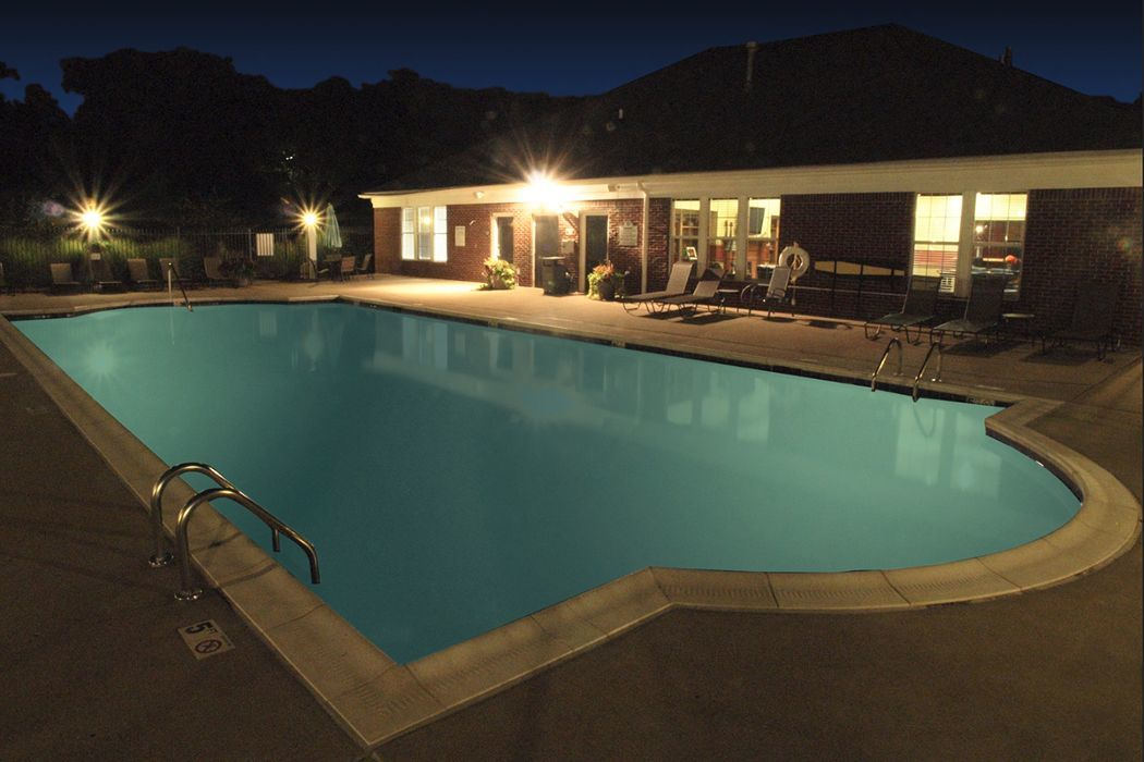illuminated pool at Shadow Ridge