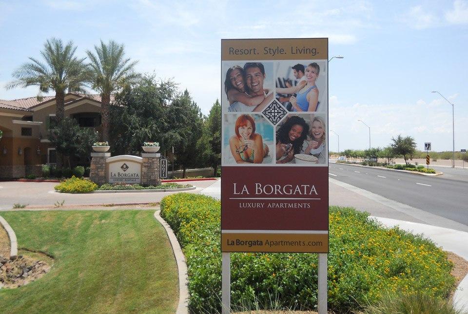 La Borgata Apartments entrance with sign