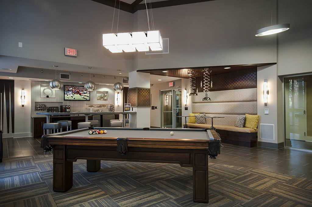 Club room and pool table at Alta Congress
