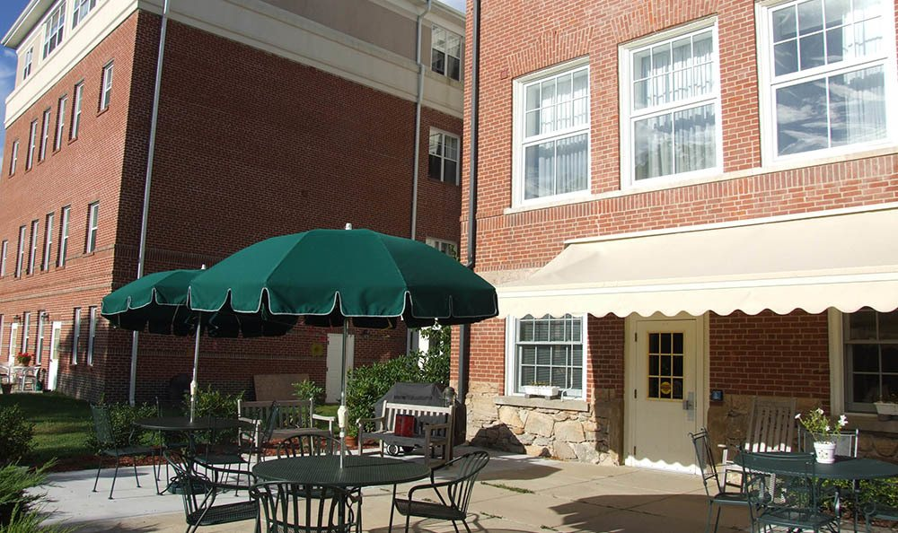Beautiful patio at senior living in Mystic