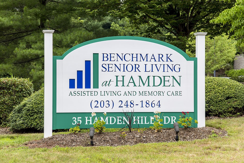 Our front sign at Benchmark Senior Living at Hamden