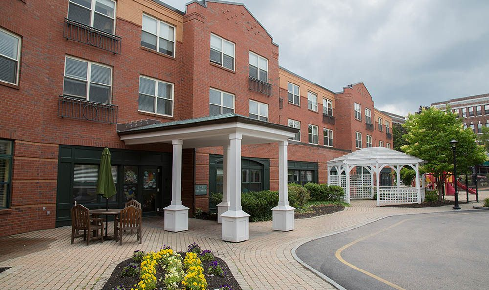 Exterior views of senior living in Brighton, MA