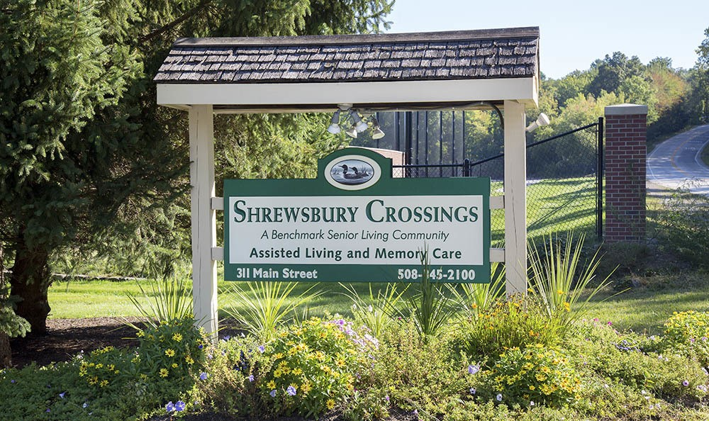 Signage at Benchmark Senior Living at Shrewsbury Crossings