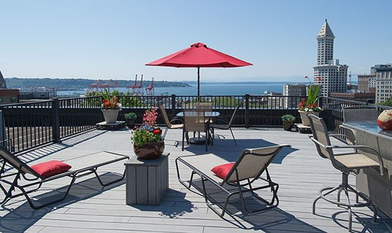 Roof deck with a view at Metropolitan Park Apartments in Seattle, WA