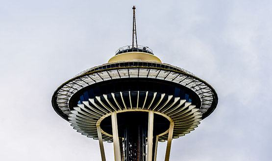 A close up of the Space Needle in Seattle