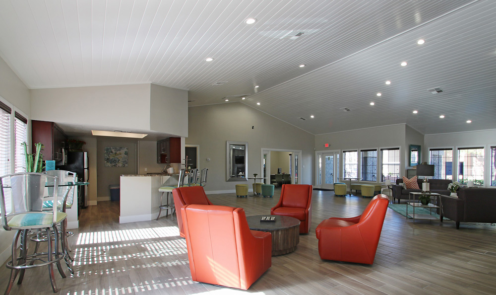 Modern clubhouse at Crystal Creek Apartments