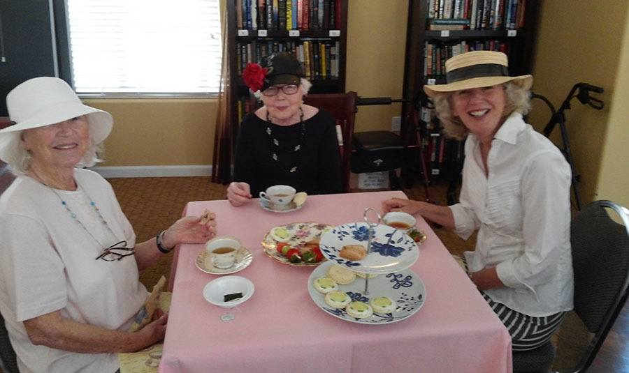Ladies having tea at the senior living community in Rocklin