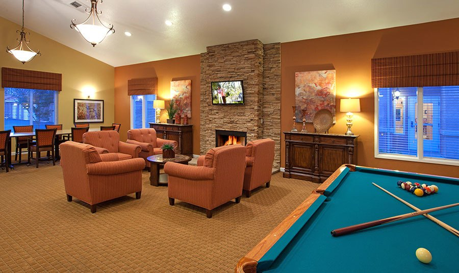 Billiard rooms for the community  at the senior living community in Rocklin