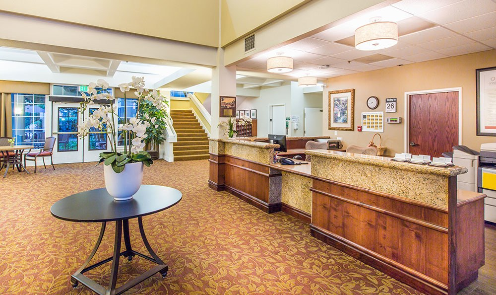 Welcoming front desk at the senior living facility in Santa Rosa