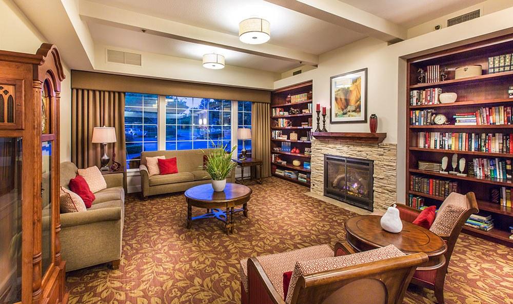 Cozy library at the senior living community in Santa Rosa