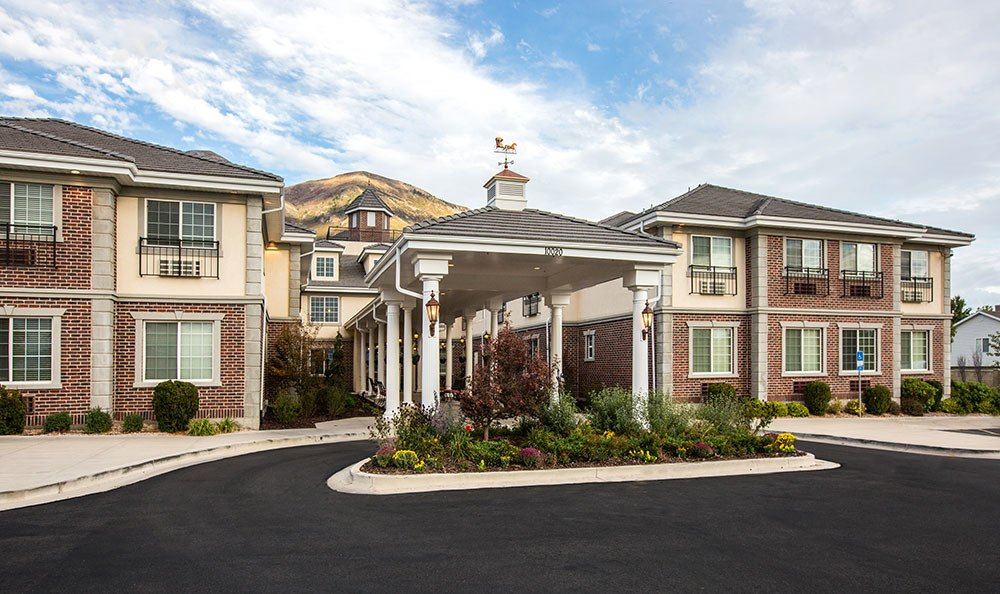 Clean exterior building at the senior living facility in Cedar Hills