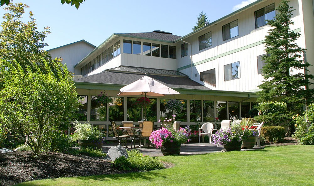 Welcoming front building at the senior living facility in Olympia