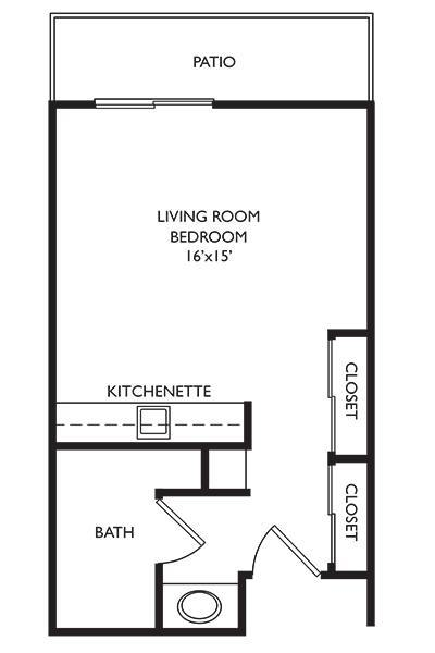 Independent Living Studio at Welbrook Arlington in Riverside, California