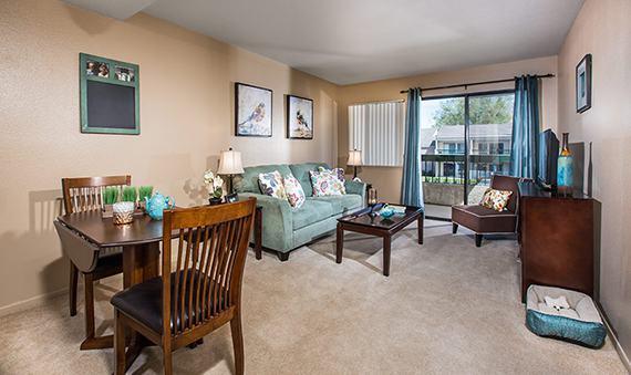Open living room at Welbrook Arlington senior living community in Riverside