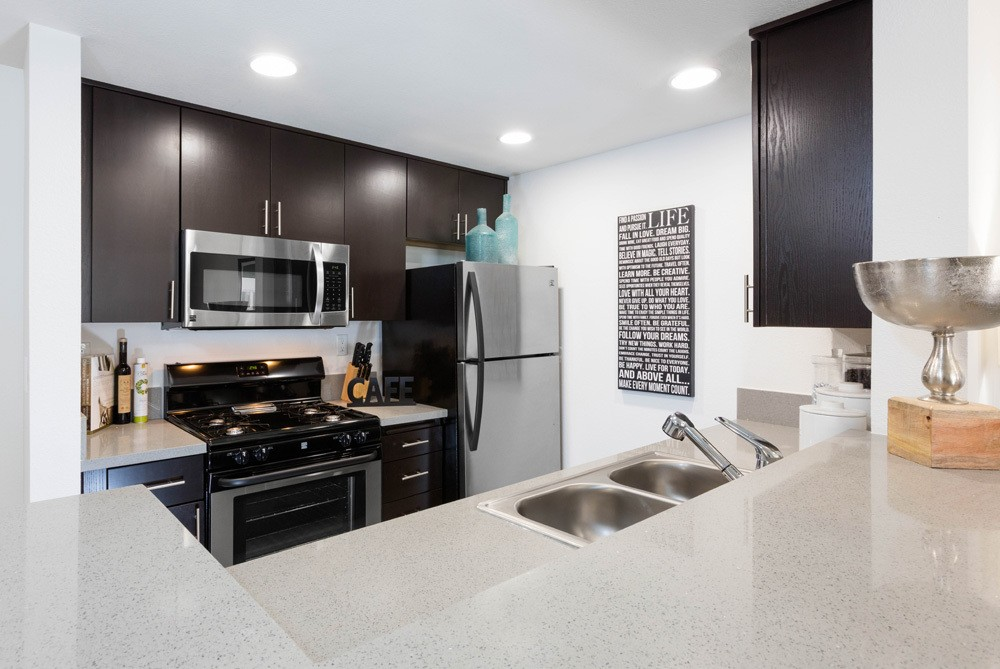 Kitchen at apartments in Long Beach