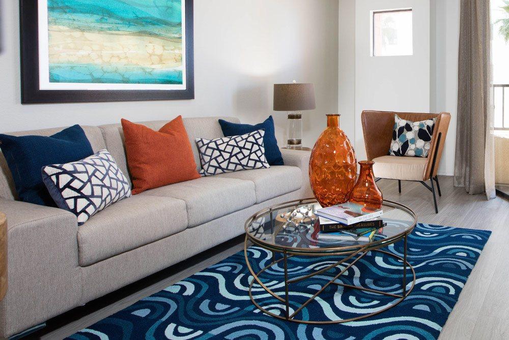 Living room at Long Beach apartments