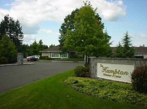entrance sign at The Hampton Alzheimer's Special Care Center in Tumwater, WA