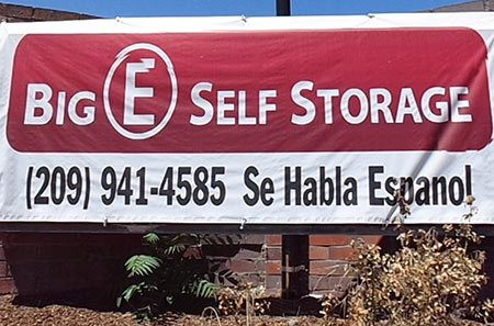 Big sign outside of Stockton self storage units