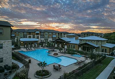Pecos Flats pool at night