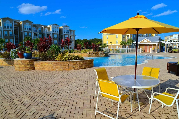 Beautiful pool and patio at The Enclave at Tranquility Lake in Riverview, FL
