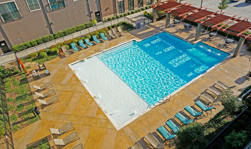 Aerial View of the Pool at The Boulevard at Frisco Square in Frisco, TX