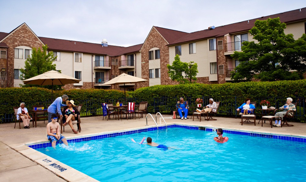 Relax By the Pool At Senior Living in Southfield, MI