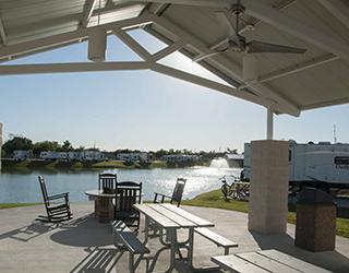 Patio area at the RV resort in Baytown