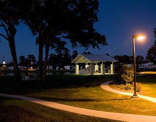 Walkway at night at the RV resort in Houston
