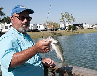 Resident Fishing at the Rv Resort in Houston
