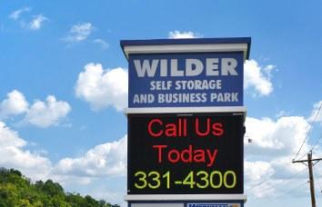 Self storage sign in Wilder