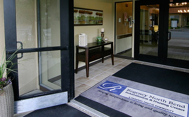 Regency North Bend Rehabilitation and Nursing Center in North Bend, WA, has a welcoming entryway.