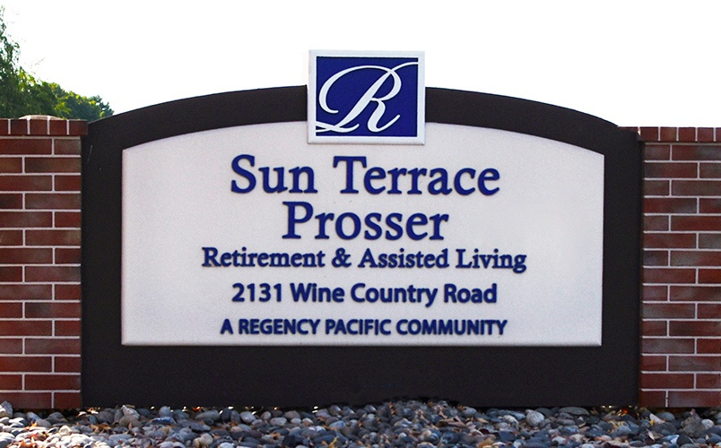 Monument Sign at Senior living community in Prosser, Washington