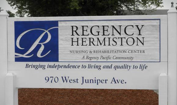 Signage at Regency Hermiston Nursing and Rehabilitation Center in Hermiston
