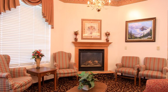 Our senior living community in Hermiston, Oregon has a fireplace in the common area.