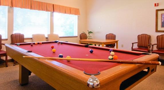 Our Hermiston, Oregon, senior living community includes a billiards table.
