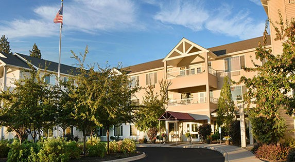 Exterior shot of the grounds at our Bend, OR senior living community