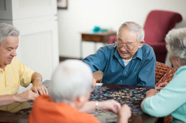 Seniors playing puzzles in Kailua-Kona, Hawaii.