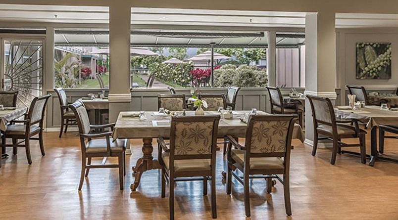Dining room at our senior living community in Lihue, Hawaii.