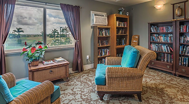 Our library at Regency at Puakea is well stocked and a great place to get lost in a book.