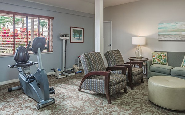 Exercise room at our senior living community in Lihue, Hawaii.
