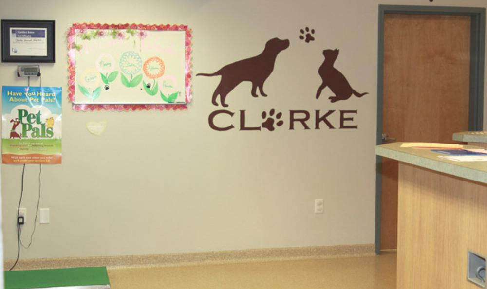Signage In Front Of Clarke Animal Hospital