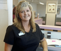 Faith McFerren, receptionist at Albuquerque Animal Hospital